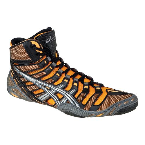 Mens ASICS Omniflex-Pursuit Wrestling Shoe - Flash Orange/Silver 10.5