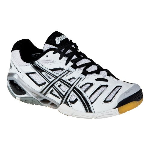Mens ASICS GEL-Sensei 4 Court Shoe - White/Black 6.5
