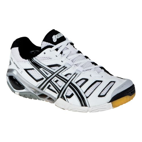 Womens ASICS GEL-Sensei 4 Court Shoe - White/Black 11.5