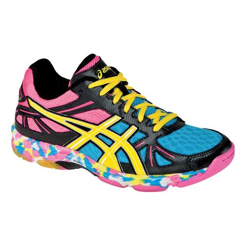 Womens ASICS GEL-Flashpoint Court Shoe - Black/Neon Yellow 8