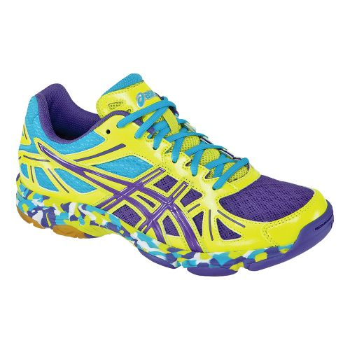 Womens ASICS GEL-Flashpoint Court Shoe - Flash Yellow/Prince Blue 6.5