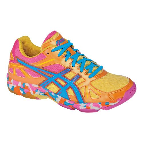 Womens ASICS GEL-Flashpoint Court Shoe - Orange Flame/Neon Blue 6.5