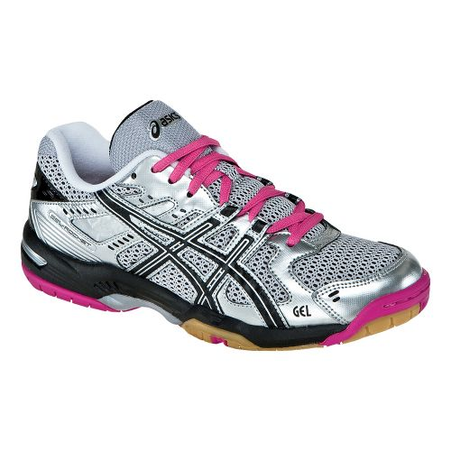 Womens ASICS GEL-Rocket 6 Court Shoe - Silver/Black 11.5