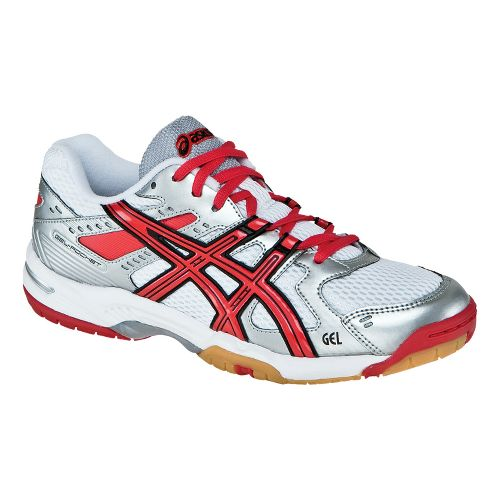 Womens ASICS GEL-Rocket 6 Court Shoe - White/Red 5.5