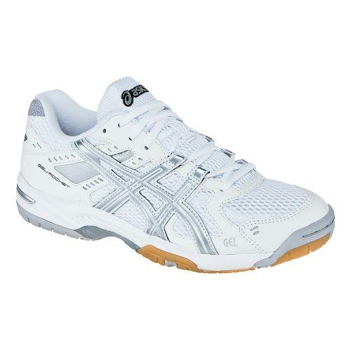 Womens ASICS GEL-Rocket 6 Court Shoe - White/Silver 7.5