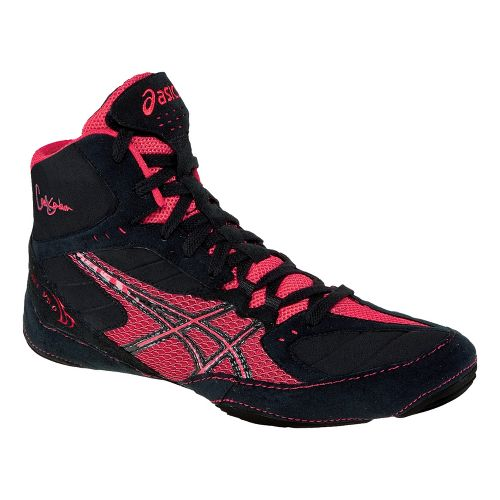 Mens ASICS Cael V5.0 Wrestling Shoe - Black/Red 8.5