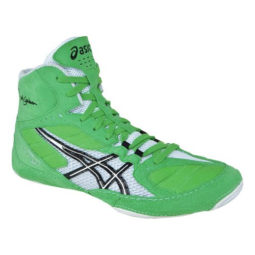 Mens ASICS Cael V5.0 Wrestling Shoe - Electric Green/Black 8.5