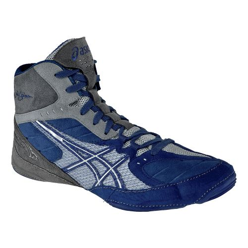 Mens ASICS Cael V5.0 Wrestling Shoe - Royal Blue/Silver 7.5