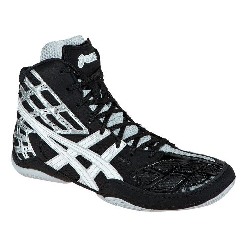 Mens ASICS Split Second 9 Wrestling Shoe - Black/White 12.5