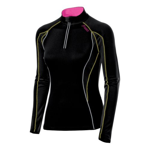 Womens ASICS Lite-Show 1/2 Zip Long Sleeve 1/2 Zip Technical Tops - Black/Canary L