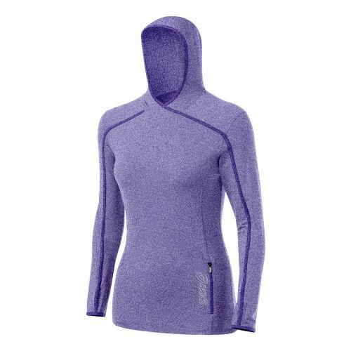 Womens ASICS Jaide Hoody Long Sleeve No Zip Technical Tops - Jewel S