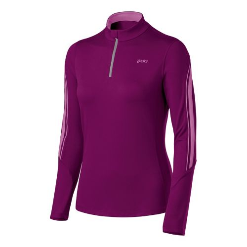 Womens ASICS Thermopolis LT 1/2 Zip Long Sleeve 1/2 Zip Technical Tops - Magenta/Mullberry XL ...