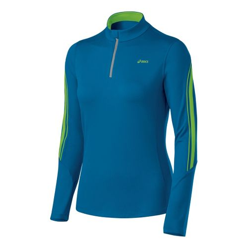 Womens ASICS Thermopolis LT 1/2 Zip Long Sleeve 1/2 Zip Technical Tops - Peacock/Greenery L ...