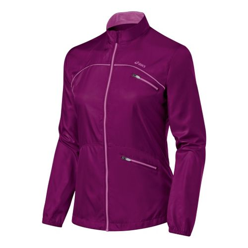Womens ASICS Spry Jacket Running Jackets - Magenta/Mullberry L