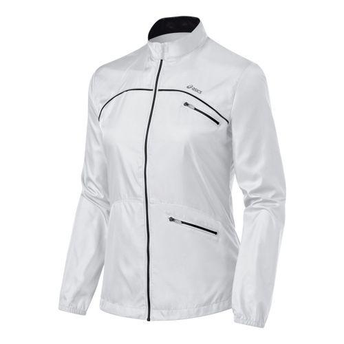 Womens ASICS Spry Jacket Running Jackets - White/Black M