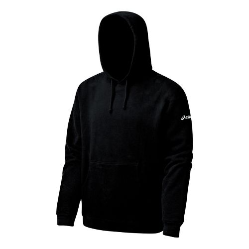 Mens ASICS Fleece Hoody Long Sleeve Full Zip Technical Tops - Black XL