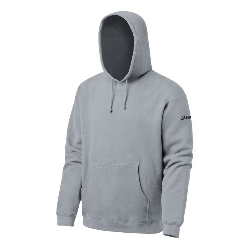 Mens ASICS Fleece Hoody Long Sleeve Full Zip Technical Tops - Heather Grey L