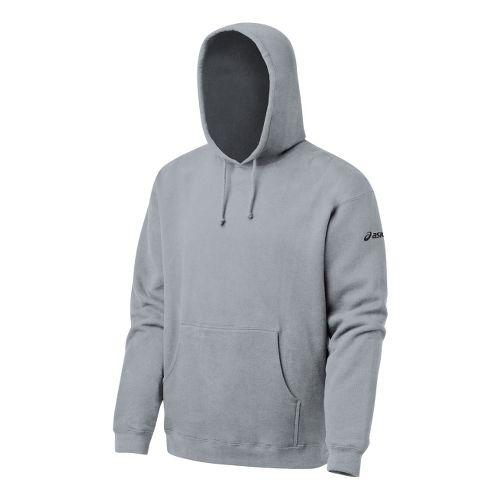 Mens ASICS Fleece Hoody Long Sleeve Full Zip Technical Tops - Heather Grey XS