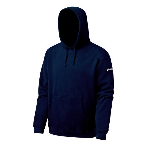 Mens ASICS Fleece Hoody Long Sleeve Full Zip Technical Tops - Navy L