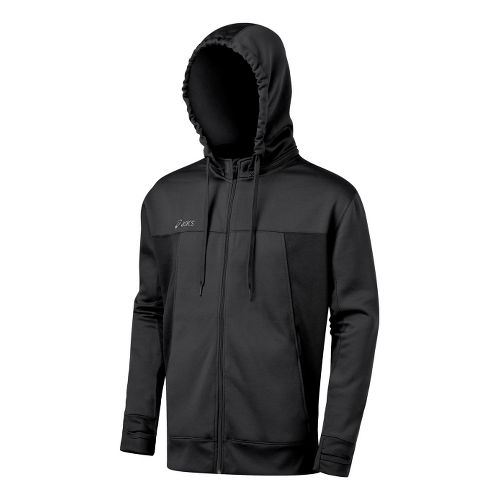Mens ASICS Poly Tech Zip Hoody Long Sleeve Full Zip Technical Tops - Black XL ...