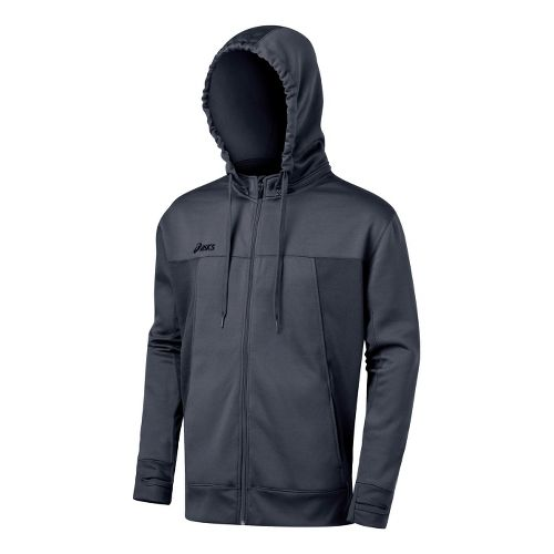 Mens ASICS Poly Tech Zip Hoody Long Sleeve Full Zip Technical Tops - Graphite L ...