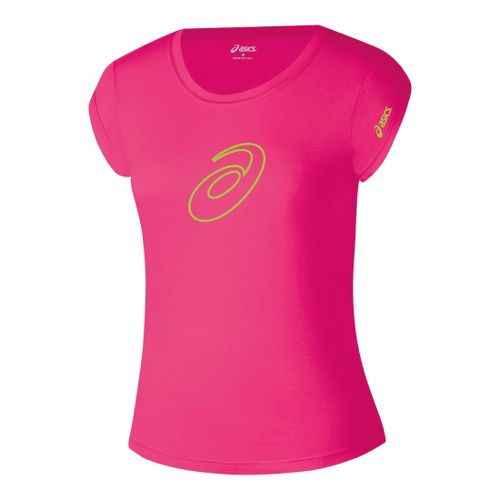 Womens ASICS Profile T Short Sleeve Technical Tops - Rhapsody/Neon Green M