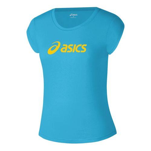 Womens ASICS Corp T Short Sleeve Technical Tops - Cyan Blue/Gold L