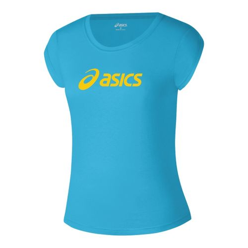 Womens ASICS Corp T Short Sleeve Technical Tops - Cyan Blue/WOW XL