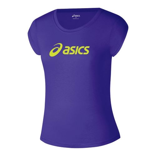 Womens ASICS Corp T Short Sleeve Technical Tops - Purple/WOW M