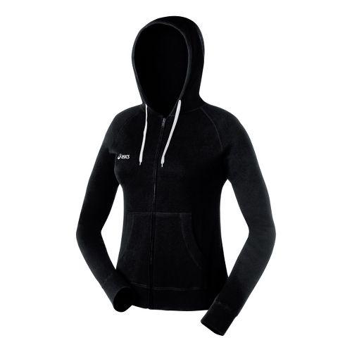 Womens ASICS Fleece Hoody Long Sleeve Full Zip Technical Tops - Black XS