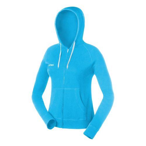 Womens ASICS Fleece Hoody Long Sleeve Full Zip Technical Tops - Cyan Blue XXL