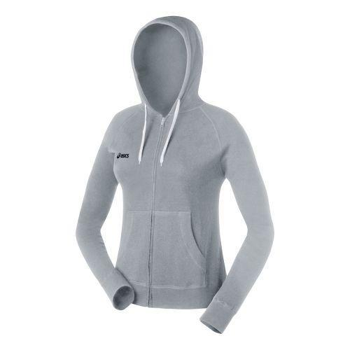 Womens ASICS Fleece Hoody Long Sleeve Full Zip Technical Tops - Heather Grey L
