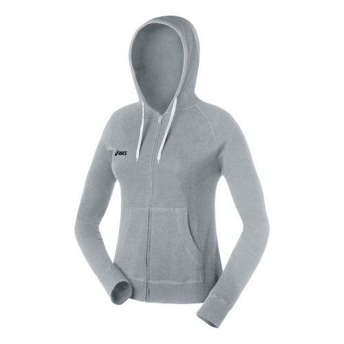 Womens ASICS Fleece Hoody Long Sleeve Full Zip Technical Tops - Heather Grey XL