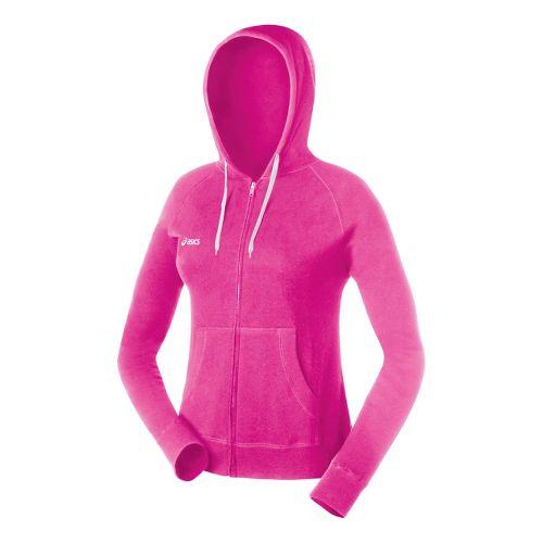 Womens ASICS Fleece Hoody Long Sleeve Full Zip Technical Tops - Neon Pink S