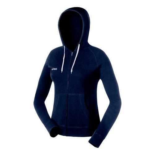 Womens ASICS Fleece Hoody Long Sleeve Full Zip Technical Tops - Navy M