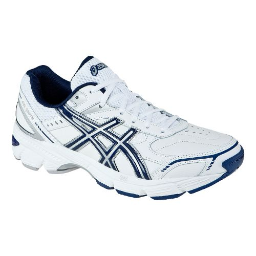 Mens ASICS GEL-180 TR Leather Cross Training Shoe - White/Navy 8.5