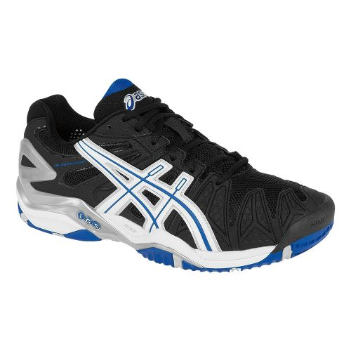 Mens ASICS GEL-Resolution 5 Court Shoe - Black/Blue 8.5