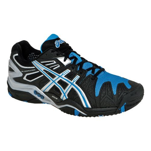 Mens ASICS GEL-Resolution 5 Court Shoe - Black/Silver 7.5