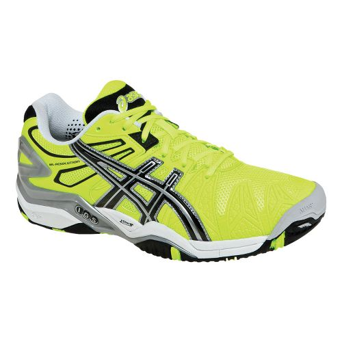 Mens ASICS GEL-Resolution 5 Court Shoe - Flash Yellow/Black 11