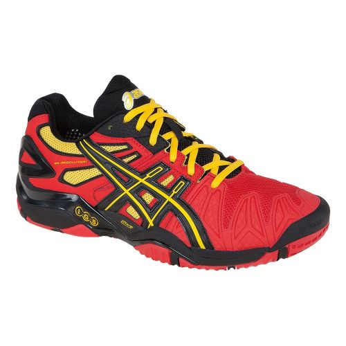 Mens ASICS GEL-Resolution 5 Court Shoe - Fiery Red/Black 11.5