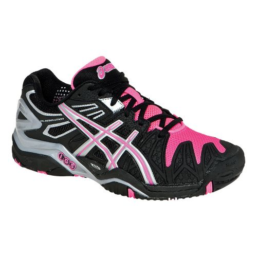Womens ASICS GEL-Resolution 5 Court Shoe - Black/Hot Pink 5.5