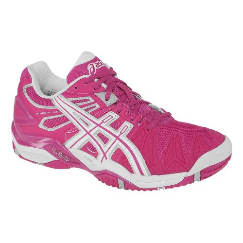 Womens ASICS GEL-Resolution 5 Court Shoe - Fuschia/White 9.5