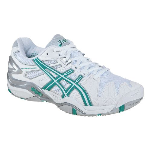 Womens ASICS GEL-Resolution 5 Court Shoe - White/Aqua Green 8