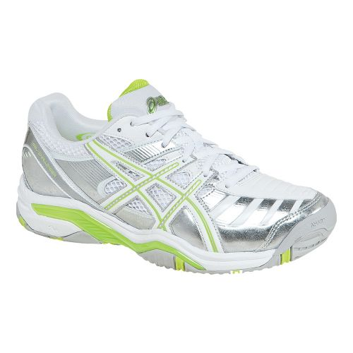 Womens ASICS GEL-Challenger 9 Court Shoe - Silver/Neon Lime 7.5