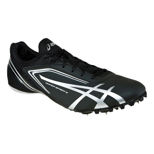 Mens ASICS HyperSprint 5 Track and Field Shoe - Black/Silver 6.5