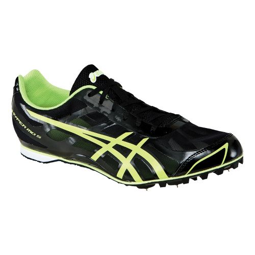 Mens ASICS Hyper MD 5 Track and Field Shoe - Black/Lime 1.5