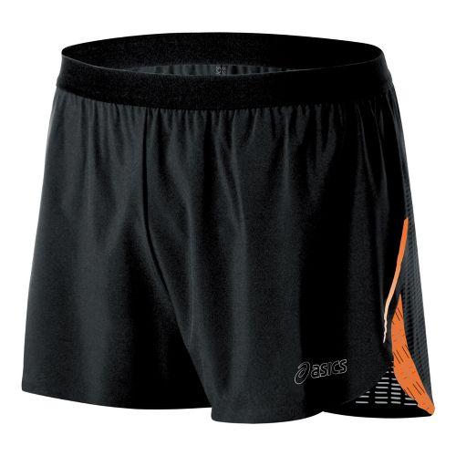 Mens ASICS ARD Splits Shorts - Black/Orange Burst S