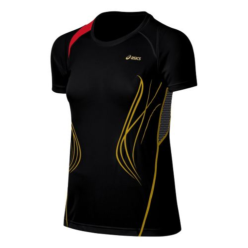 Womens ASICS TIL Tee Short Sleeve Technical Tops - Black L