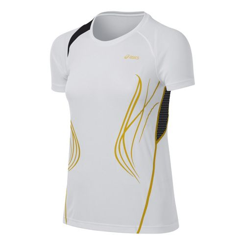 Womens ASICS TIL Tee Short Sleeve Technical Tops - White L
