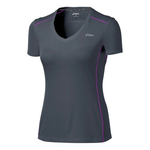 Womens ASICS FujiTrail Short Sleeve Technical Tops - Steel XL